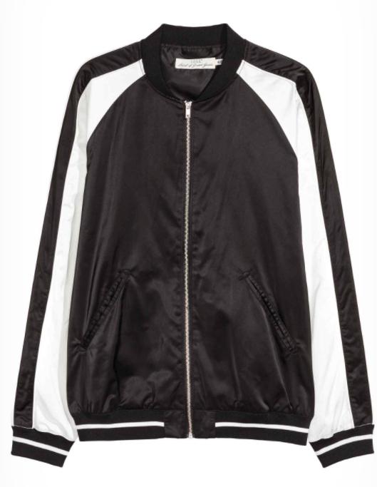 H Amp M Satin Bomber Jacket Black Small Size Angraze