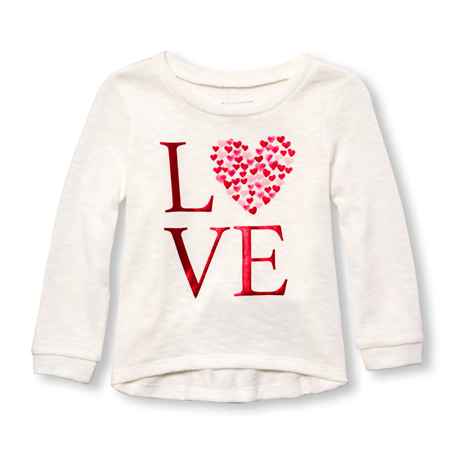 Toddler Girls Long Sleeve Foil Love Graphic Lightweight Sweater