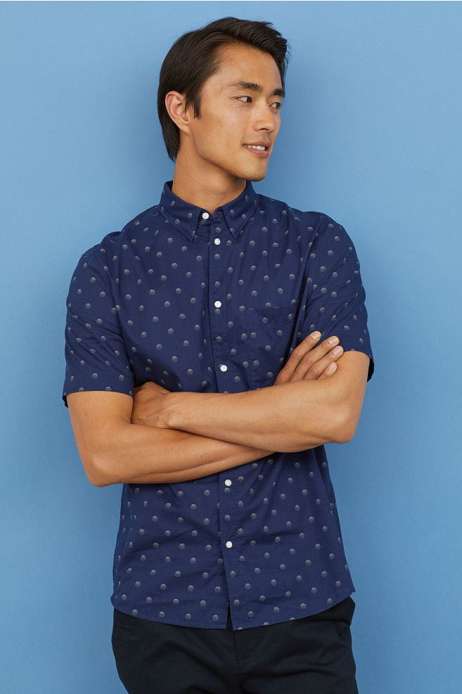 H Amp M Short Sleeve Shirt Regular Fit Dark Blue Spotted Angraze