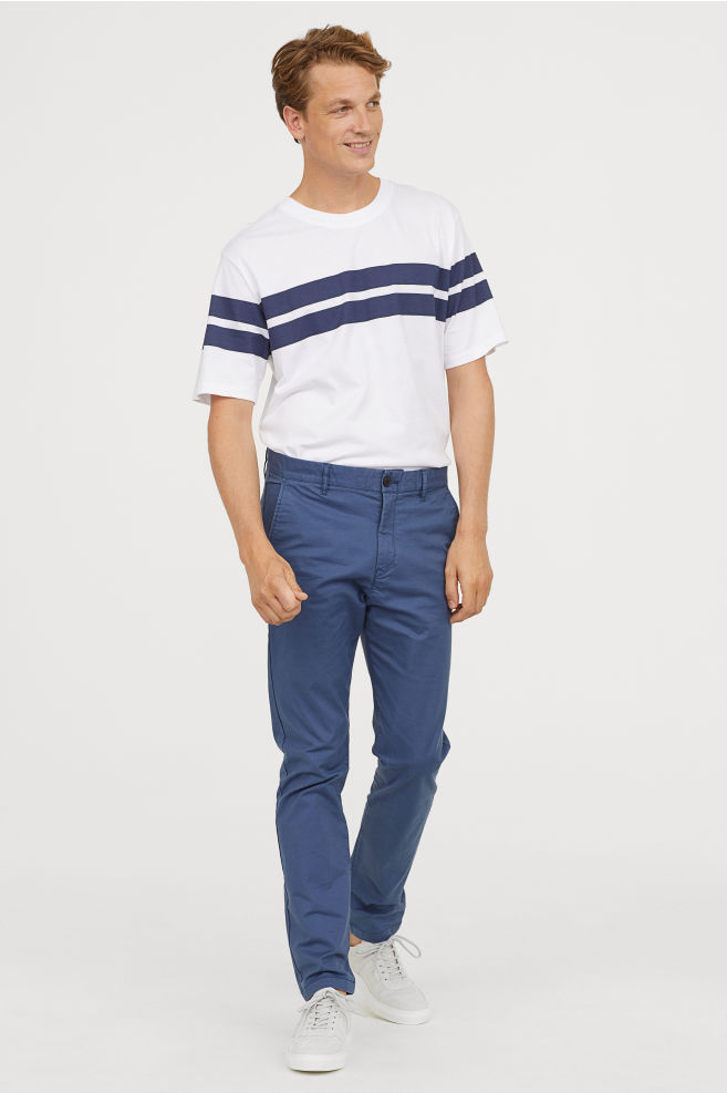 luxury aesthetic new release enjoy clearance price H&M Cotton chinos Skinny fit BLUE-GRAY